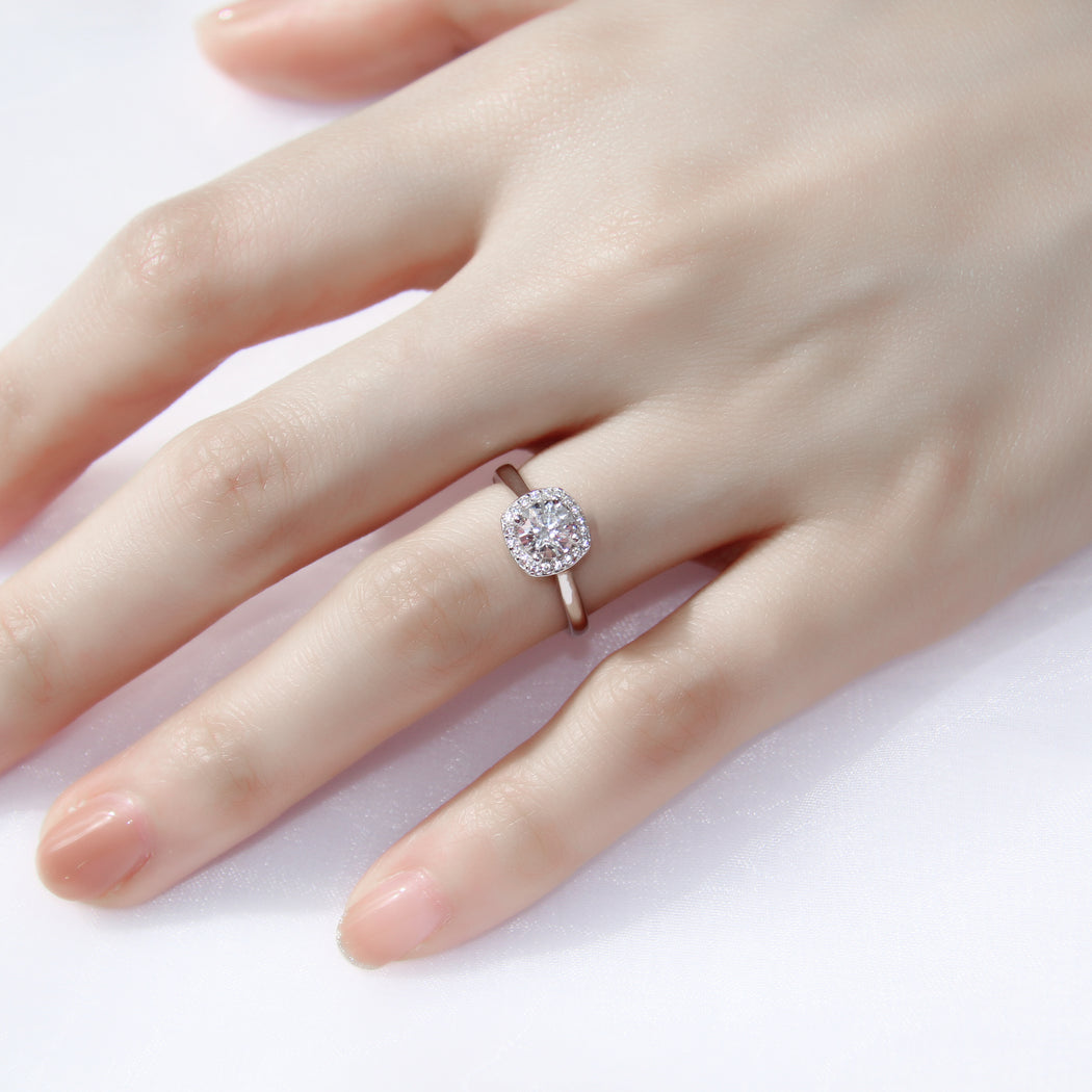 Cushion Cut 0.6 Carat Halo Ring