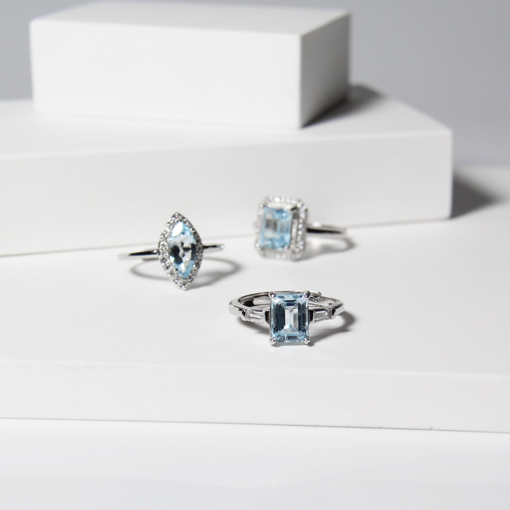 Blue Topaz Emerald Cut Ring