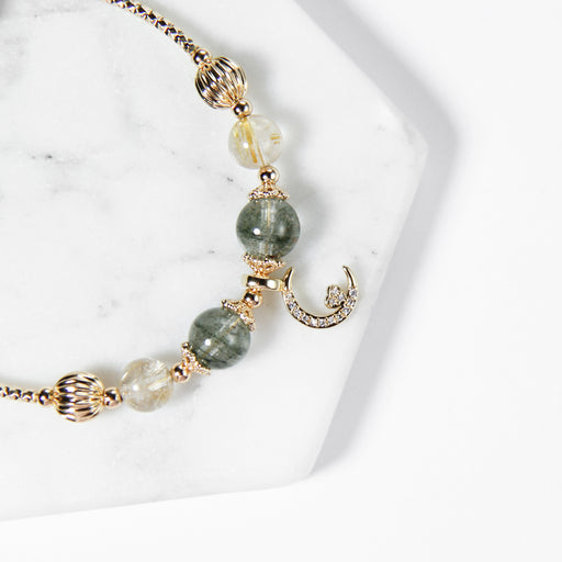 Green Phantom Quartz and Rutilated Quartz Bracelet