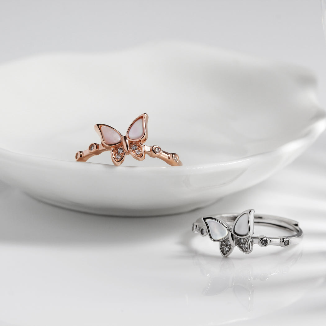 Mother of Pearl Butterfly Ring