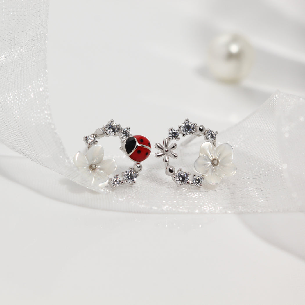 Lady Bug Flower Earrings