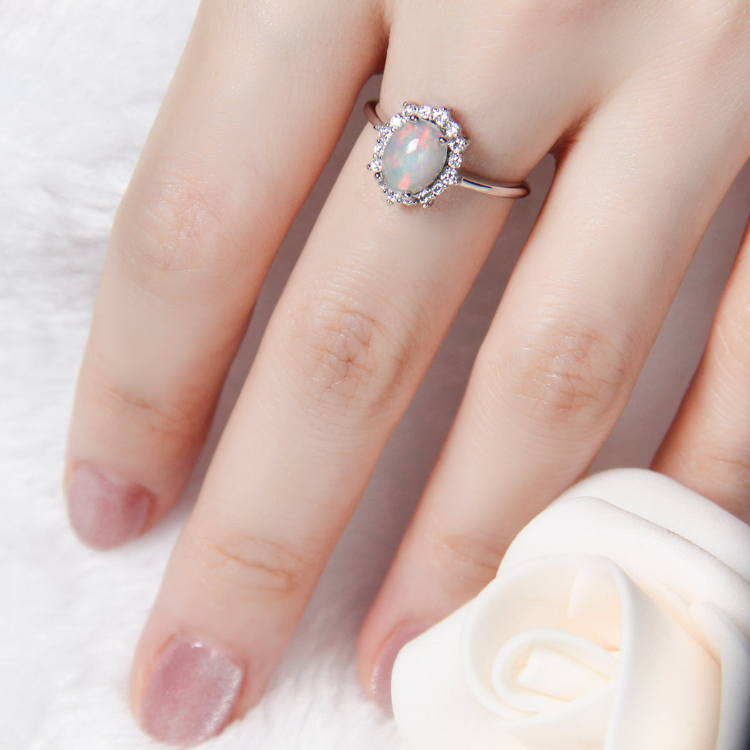 Oval White Fire Opal Princess Ring