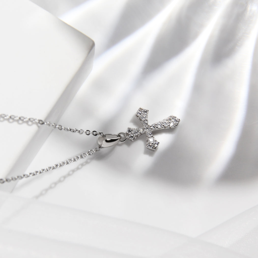 Dainty Edgy Cross Necklace