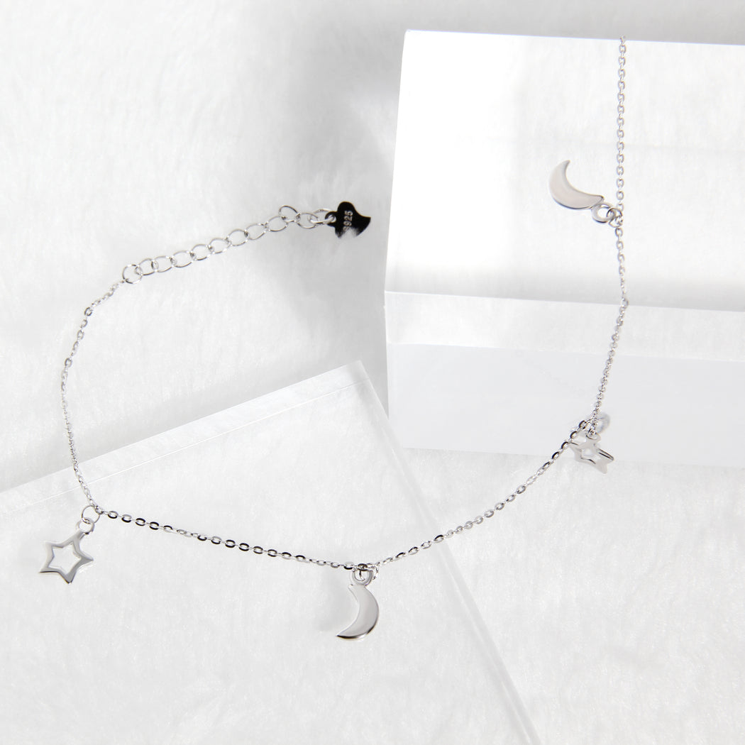 Crescent Moon Star Charm Anklet