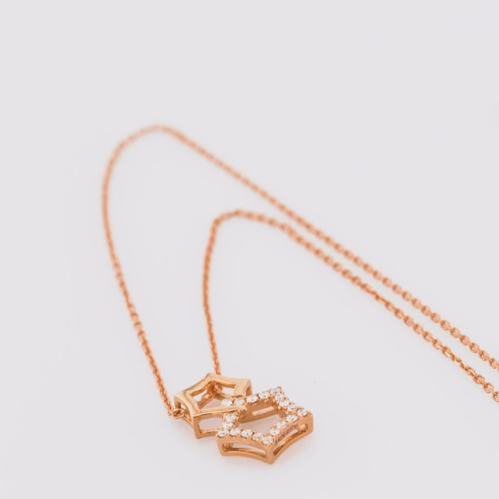 18K Rose Gold Double Star Necklace