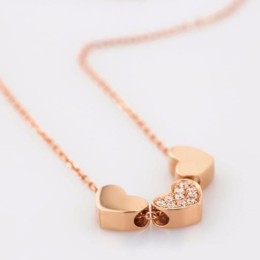 18K Rose Gold Three Hearts Necklace