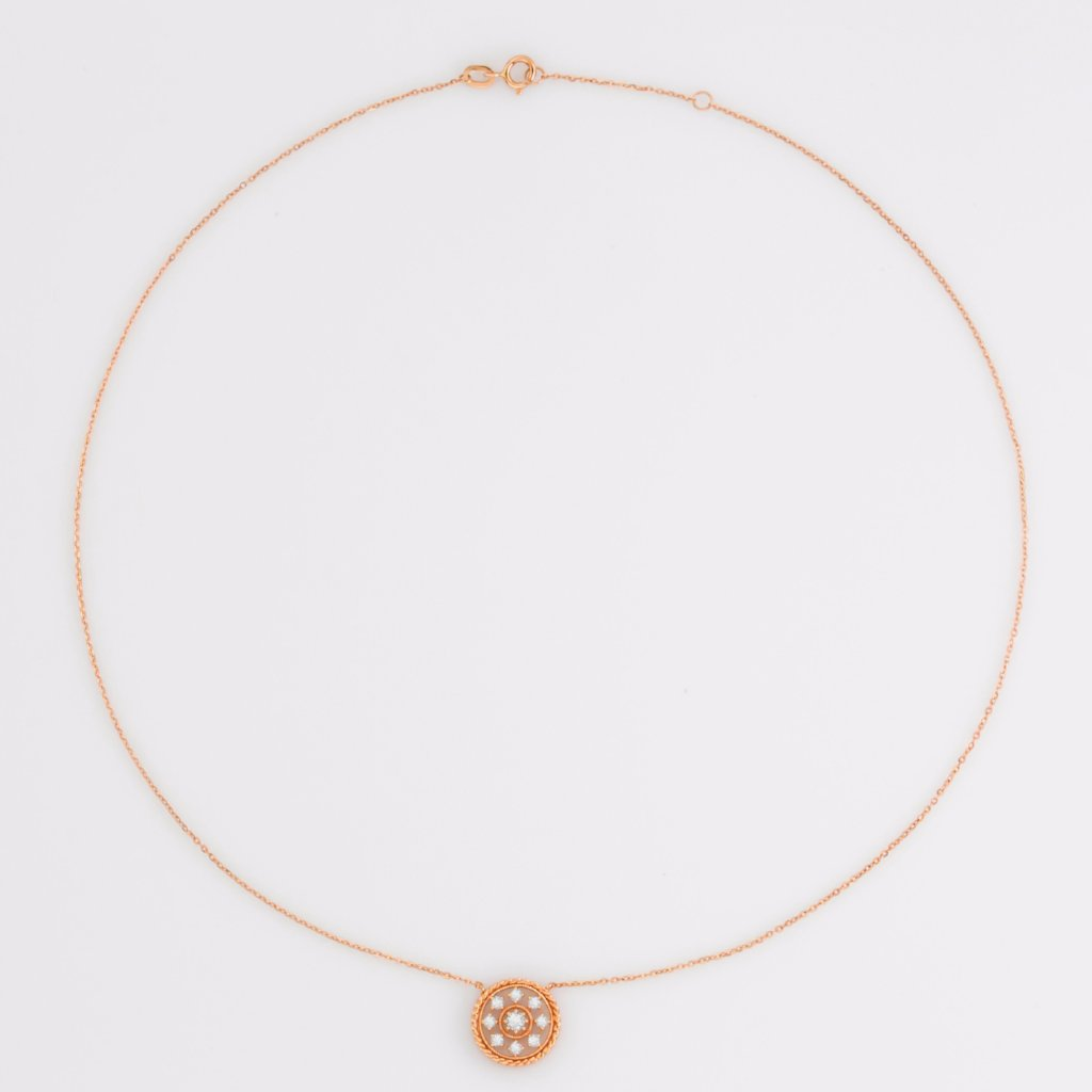 18K Rose Gold Snowflake Necklace