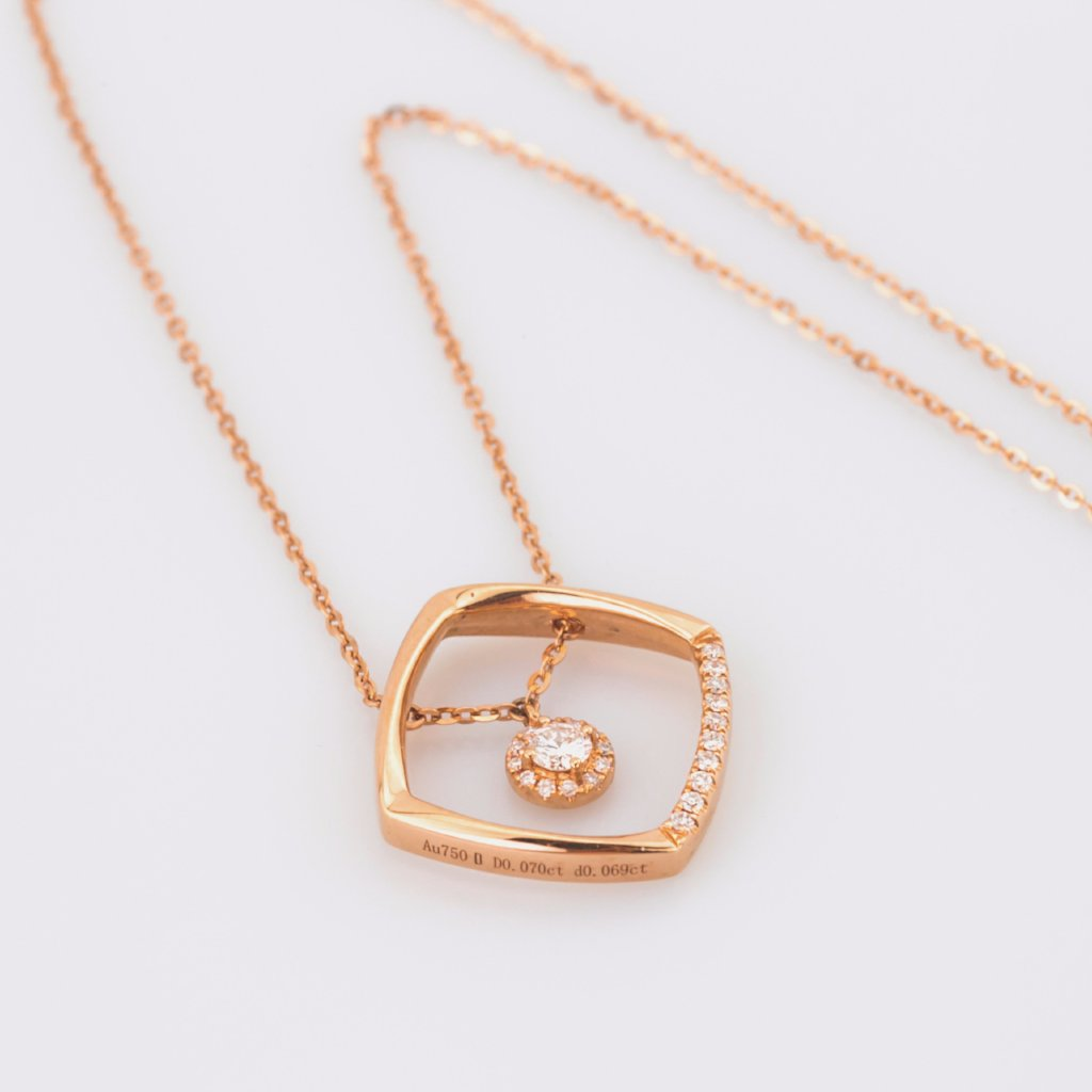 18K Rose Gold Square Necklace