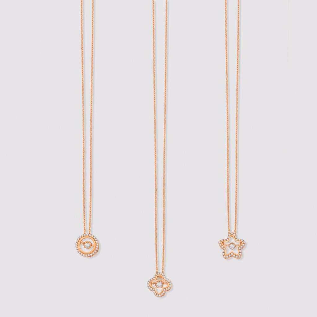 18K Rose Gold Star Motion Necklace