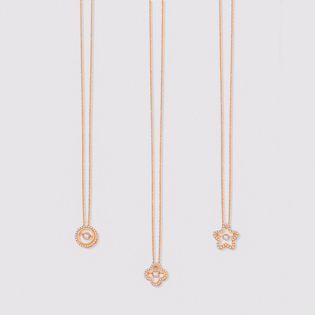 18K Rose Gold Clover Motion Necklace