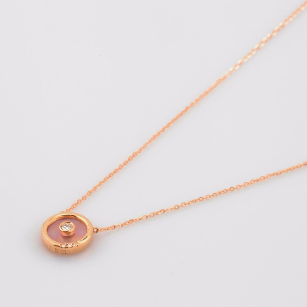18K Rose Gold Colored Seashell Circle Necklace