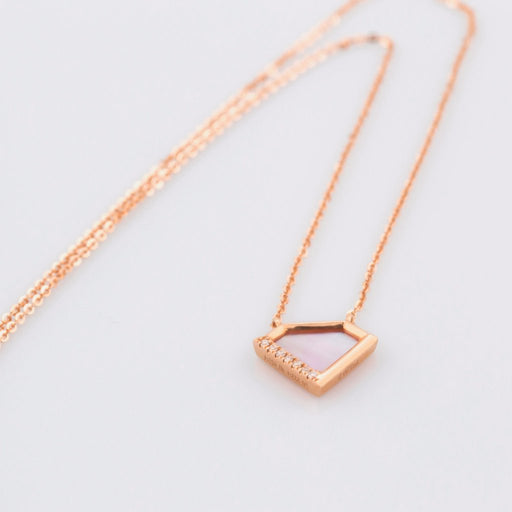 18K Rose Gold Colored Seashell Diamond Necklace