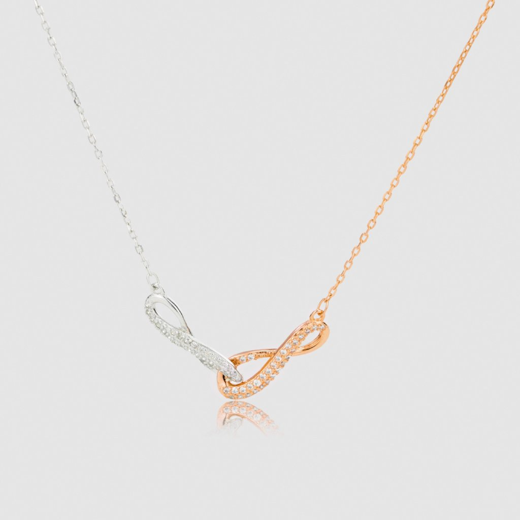 Infinity Rose Gold and Silver Necklace