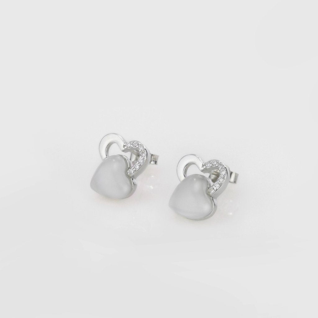 Cat's Eye Stone Heart Earrings