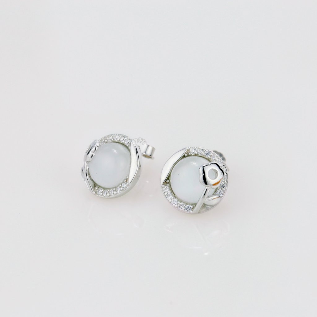 Cat's Eye Stone Flower Earrings