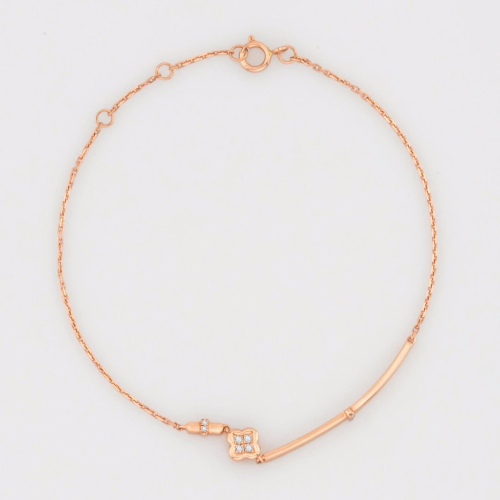 18K Rose Gold Tiny Clover Bracelet