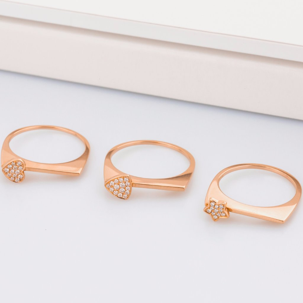 18K Rose Gold Beautiful Star Ring