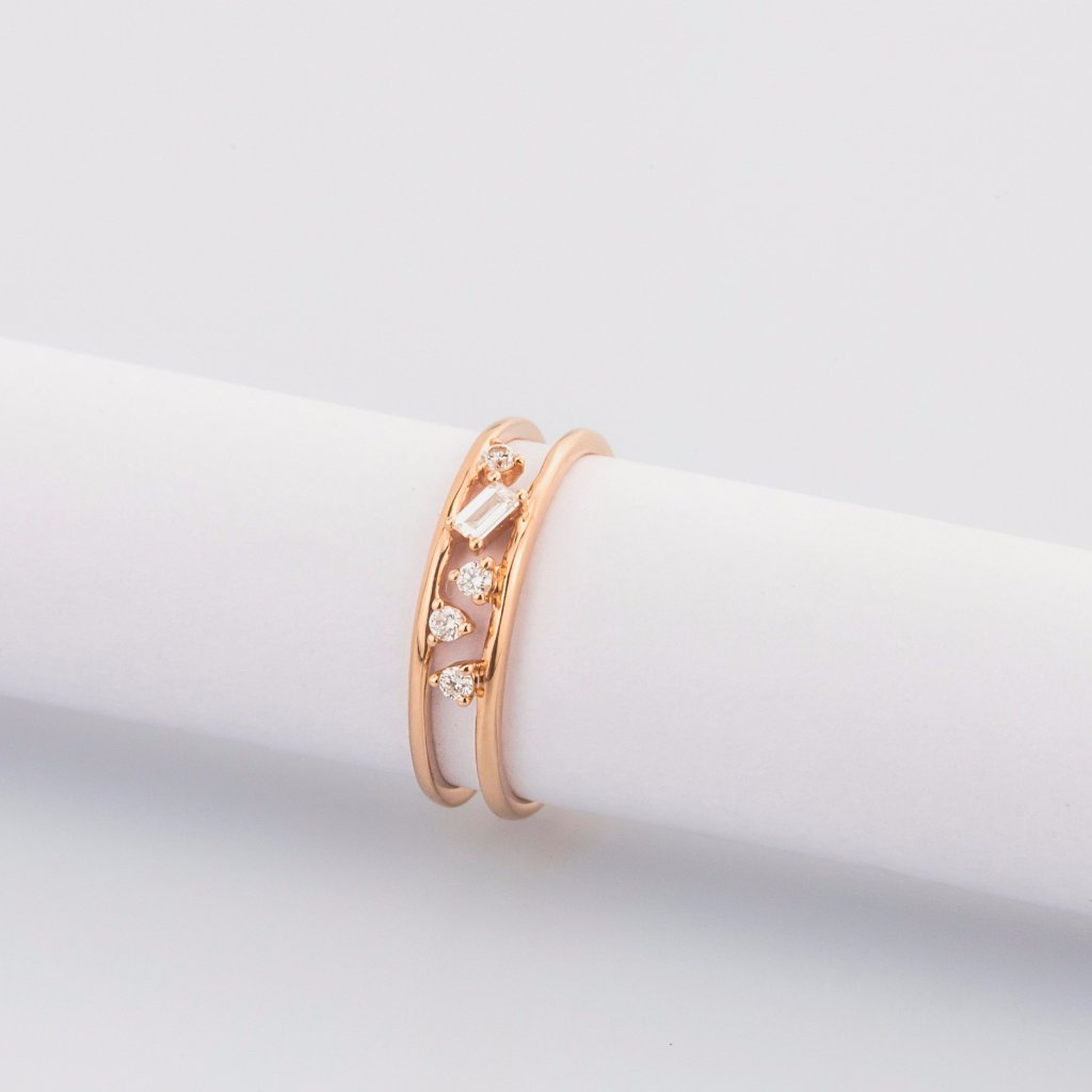 18K Rose Gold Baguette Cut Diamond Ring
