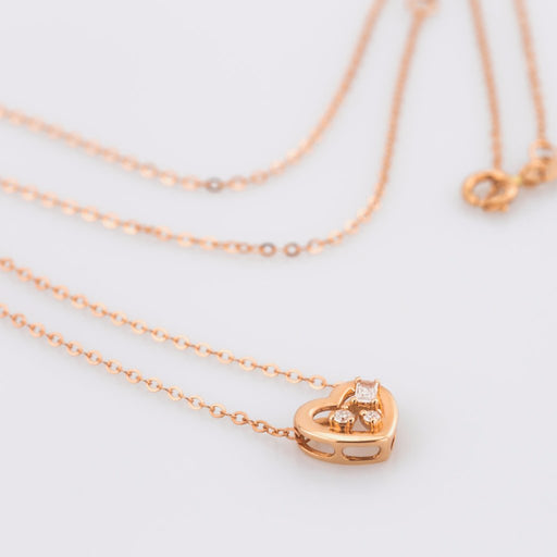 18K Rose Gold Heart Baguette Cut Diamond Necklace