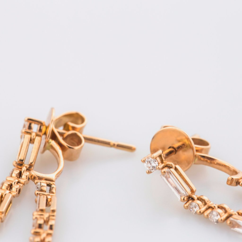 18K Rose Gold Baguette Cut Diamonds Earrings