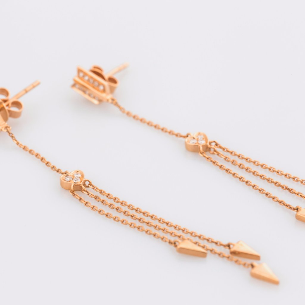 18K Rose Gold Cupid Arrows Earrings