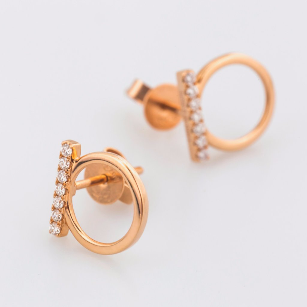 18K Rose Gold Beautiful Edgy Earrings