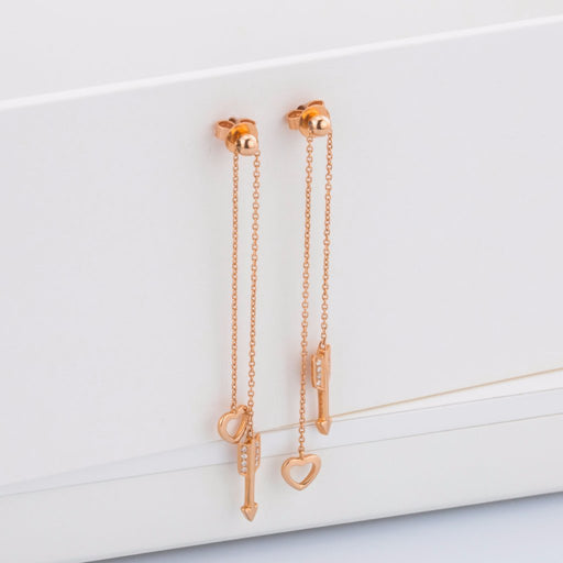 18K Rose Gold Cupid Hearts and Arrows Earrings