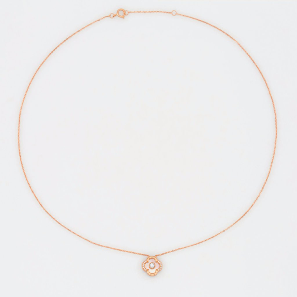 18K Rose Gold Colored Seashell Clover Necklace