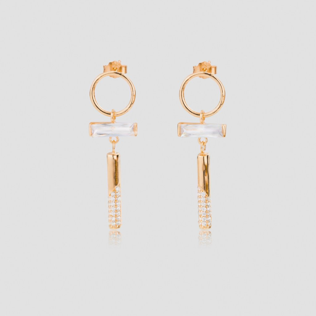 Long Baguette Cut Diamond Earrings