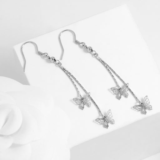 Tiny Butterfly Dangle and Drop Earrings
