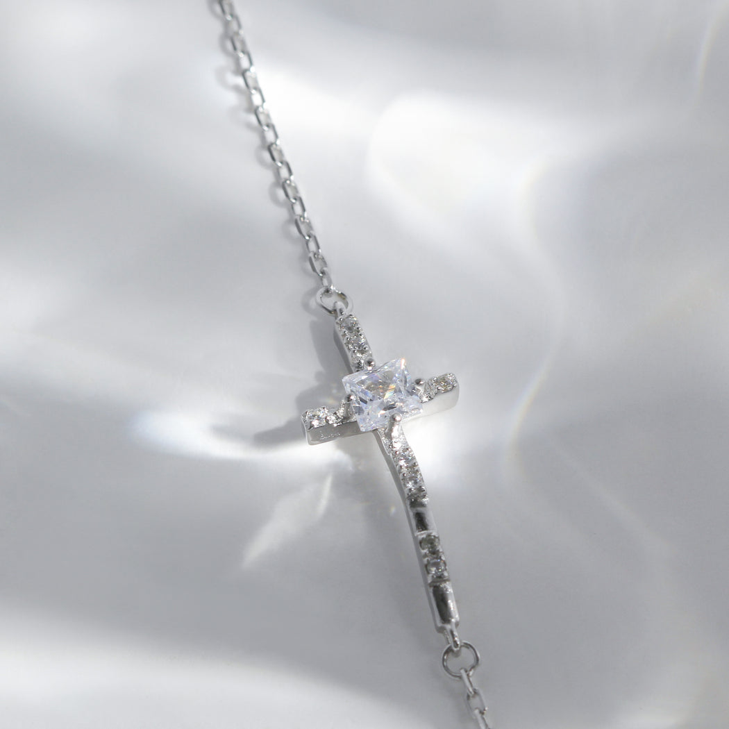 Sideways Cross Charm Bracelet