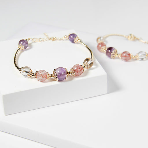 Amethyst Strawberry Clear Quartz Bracelet