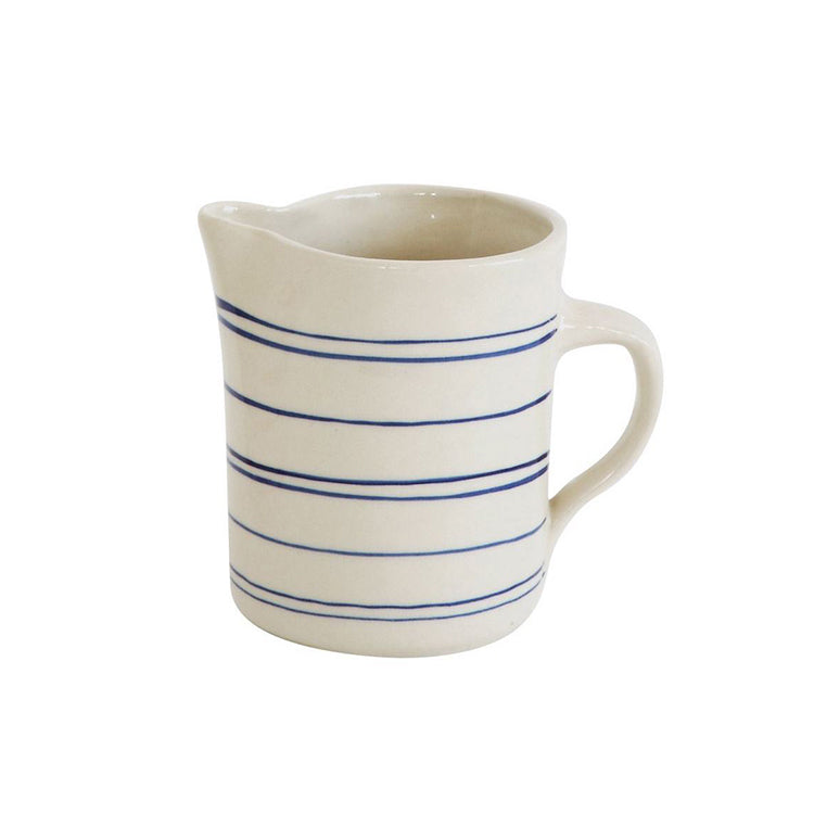 Asheville Stoneware Creamer with Blue Stripes