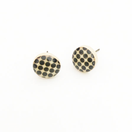 Black Circle Wooden Stud Earrings - Starlight Woods