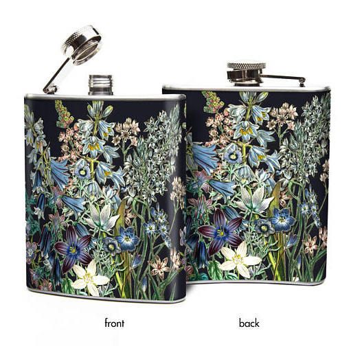 Blue Flowers Hip Flask 6 oz