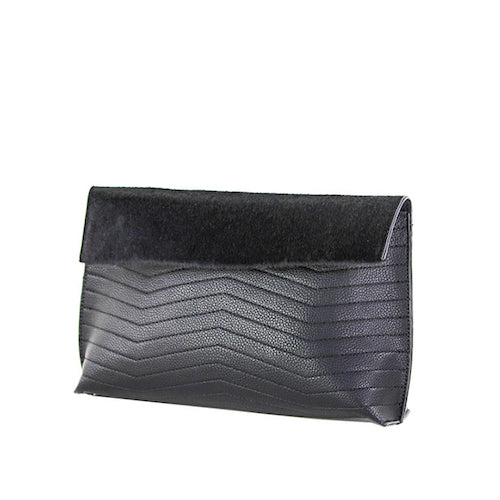 Black Vegan Leather Chevron Clutch - Street Level
