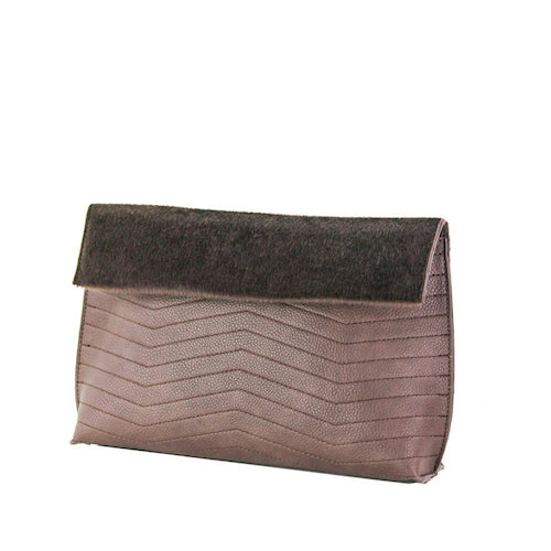 Taupe Chevron Clutch - Street Level