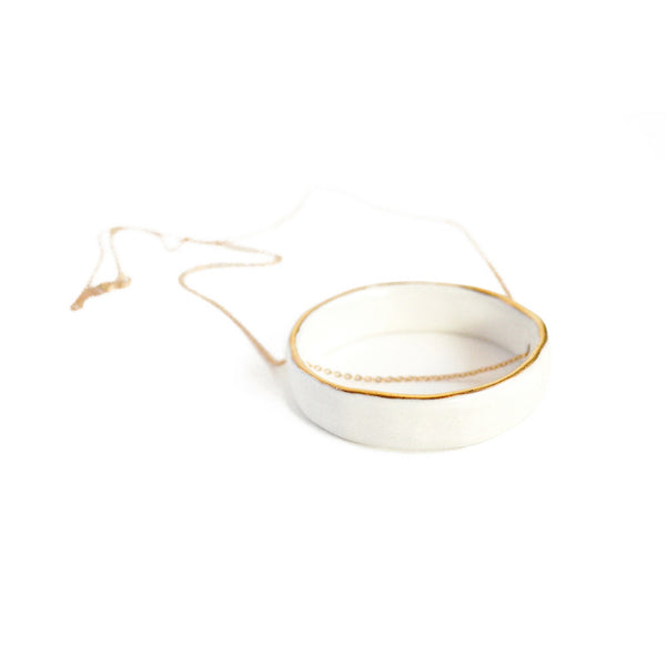 White Porcelain Circle Necklace - Jenna Vanden Brink Ceramics