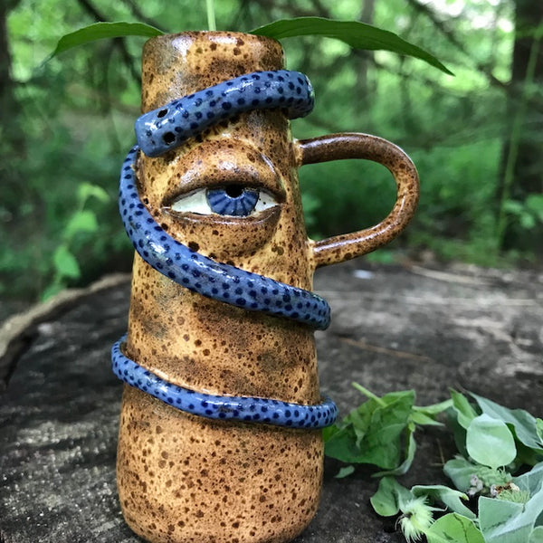 Crooked Curiosities Eye Bud Vase - Blue Snake