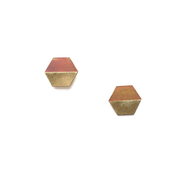 Hexagon Statement Studs - Gold Iridescent - Off Duty NYC