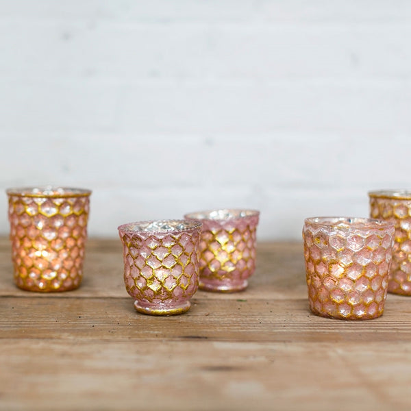 Honeycomb Blush Votive Holders