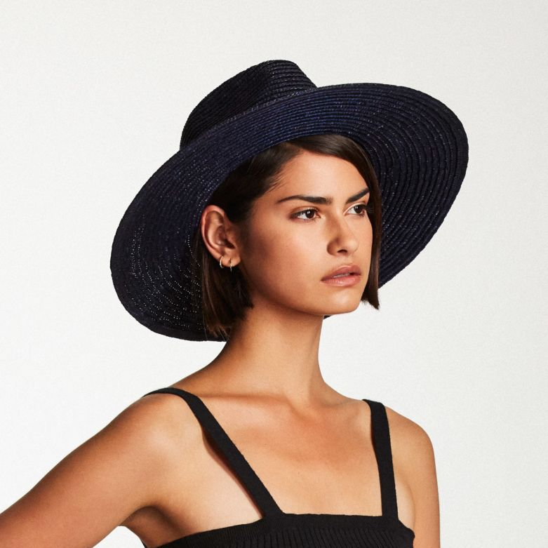 Joanna Straw Hat in Midnight Navy - Brixton