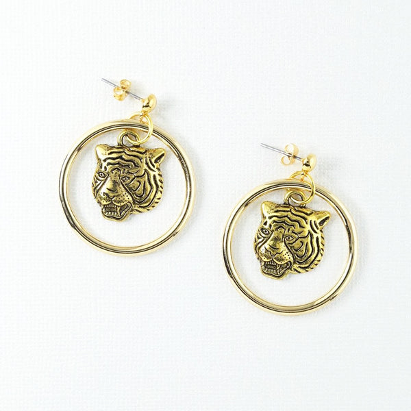 Vanessa Mooney Latifah Mini Tiger Gold Earrings