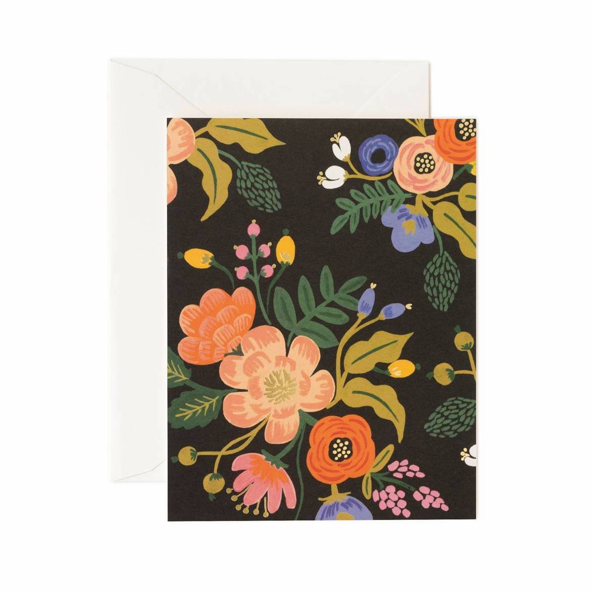 Lively Floral Card Set - Black - Rifle Paper Co.
