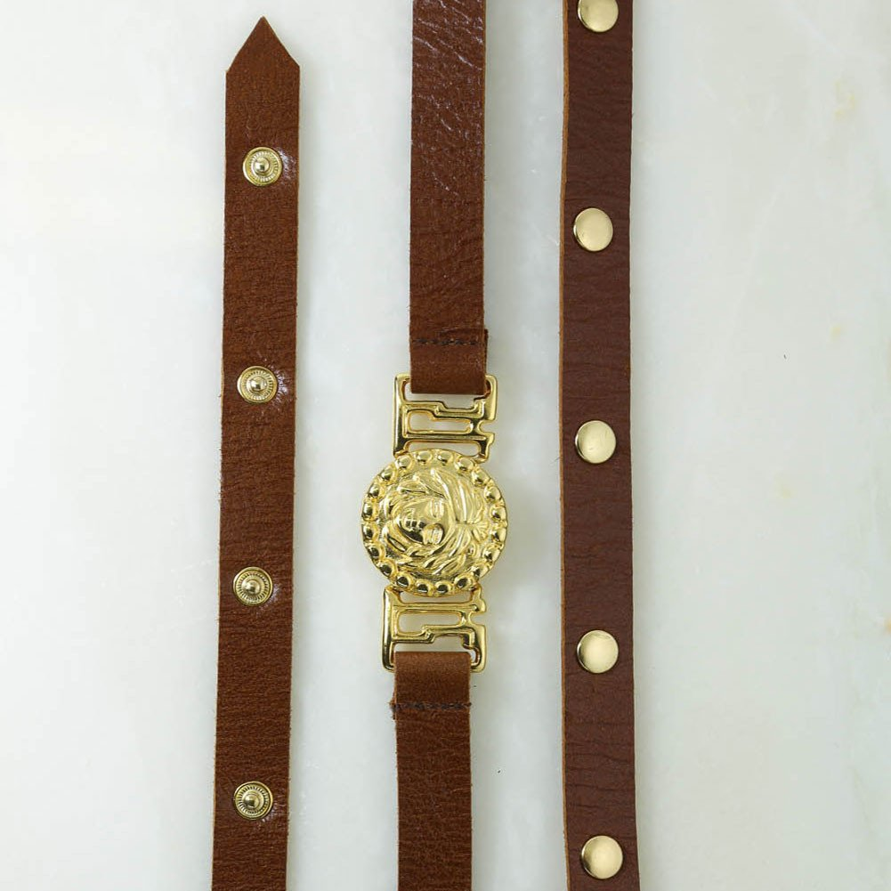 Vanessa Mooney Medusa Belt - Brown Leather and Gold