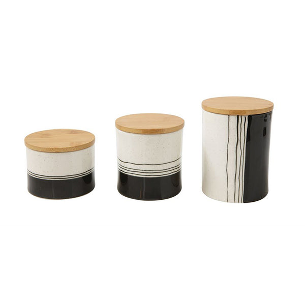 Painter's Black and White Stoneware Canisters