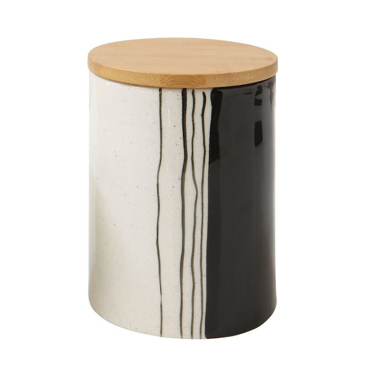 Painter's Black and White Stoneware Canister - Large