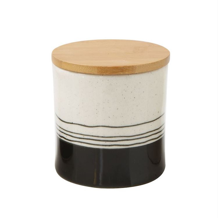 Painter's Black and White Stoneware Canister - Medium