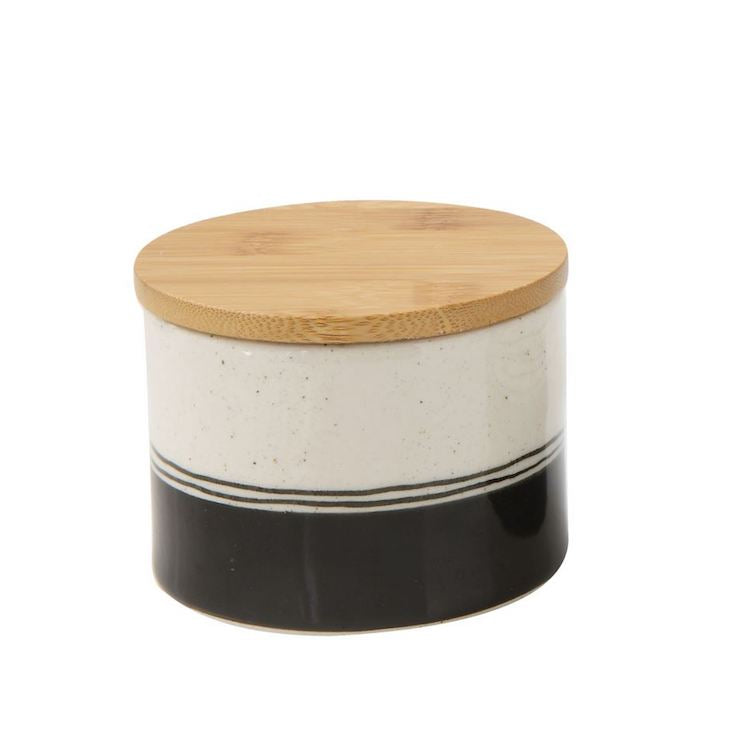 Painter's Black and White Stoneware Canister - Small