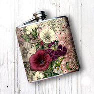 Pink Flowers Hip Flask 6 oz